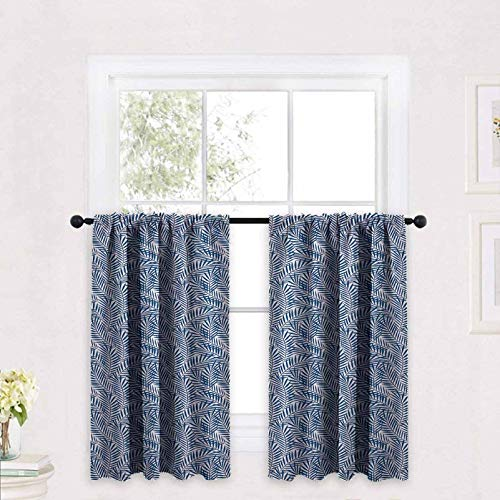 ScottDecor Navy Blue Kitchen Tiers Curtains Tropical Rainforest Inspirations Blue Palm Tree Leaves Abstract Exotic Nature 30 x 63 inch Tiers Drapery for Small Windows, Kitchen & Bathroom