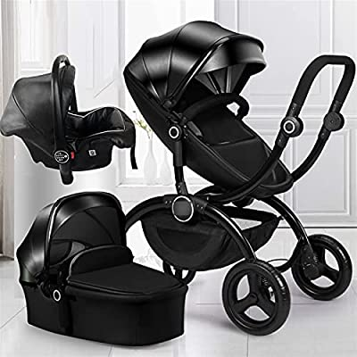 HZPXSB Lujo 3 en 1 Cochecito de bebé High Landscape Baby Stroller Standard Europeo Newborn Durming Basekt de Dos vías Carruaje de bebé (Color : 3 in 1 Black)