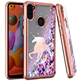 Wydan Case for Samsung Galaxy A11 - Slim Hybrid Liquid Bling Glitter Sparkle Quicksand Waterfall Shockproof TPU Phone Cover