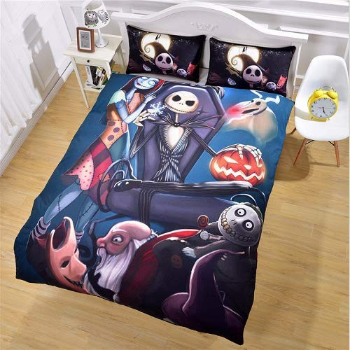 StarFashion 3D Nightmare Before Christmas Duvet Cover Sets, Scarecrow Style Sally and Jack Skellington Bedding Set,Christmas Home Bedroom Decoration,Microfiber Fabric,No Comforter, 3pcs, King Size