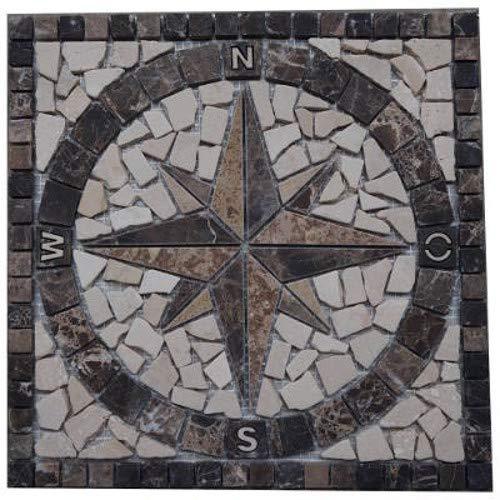 Antikmarmor Rosone 30x30 cm Windrose Mosaik Fliesen Einleger Emperador Dark 027