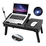 Laptop Table for Bed-Moclever Multi-Functional Laptop Bed Tray with 2 Independent Laptop Stand-Foldable Adjustable to 2 Different Heights-Internal Cooling Fan for Laptop Desk-LED Desk Lamp-4 Port USB