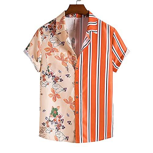 SSBZYES Camisas para Hombres Camisas De Verano De Manga Corta Camisas De Flores Tops para Hombres Camisetas Camisas De Costura para Hombres Camisetas Ajustadas con Estampado Casual