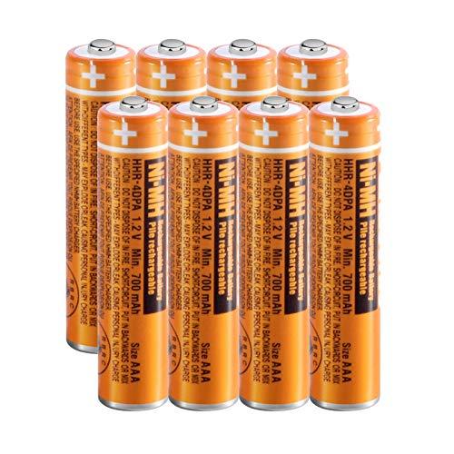 8 x Pilas Recargables AAA 700 mah 1.2v para Panasonic, Baterias Recargables NiMH para Telefonos Inalambricos