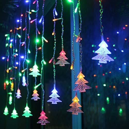 HELEVIA Weihnachten LED Lichterketten Vorhang, LED Fenster Vorhang Lichterketten, LED Fairy Eiszapfen Lichterketten 3,5 m Weihnachtsbaum Vorhang Lichter für Hochzeit Dekoration