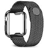 ZLRFCOK Coque + bracelet pour Apple Watch 40 mm 44 mm 38 mm 42 mm boîtier plaqué + bracelet en...