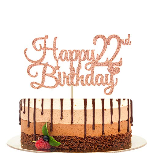 Happy 22nd Birthday Cake Topper, Cheers to 22 Years, Hello 22, 22nd Birthday/Anniversary Party Decorations Rose Gold Glitter.