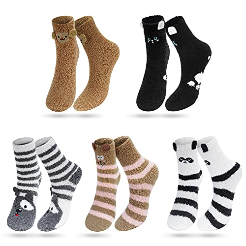 Kordear Calcetines Niñas-Invierno Calcetines Cálidos,Lindos Calcetines de Felpa para Mujer Niños Divertidos Esponjosos Suaves para La Cama de Animales de Lana Coral (Marrón, L)