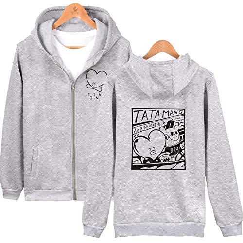 BTS Kapuzenpullover V Same Style Hoodie V Sweatshirts Rap-Monster Suga Jin Jimin J-Hope Jung Kook Zip-up Jacket (XXXXL, Grau)