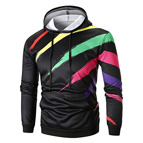 suéter de los hombres estampado sudadera con capucha rayas Color