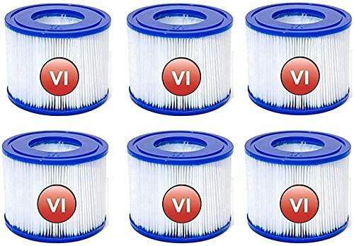 Herke luee Bestway Spa - Cartucho de repuesto para bomba de filtro Bestway tipo VI para filtro de piscina Bestway tipo VI (4,09 x 3,14 pulgadas), filtro de piscina Coleman SaluSpa 90352E (6 ps)