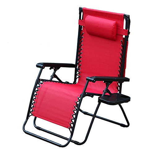 Jeco Oversized Zero Gravity Chair in Red (Set of 2)