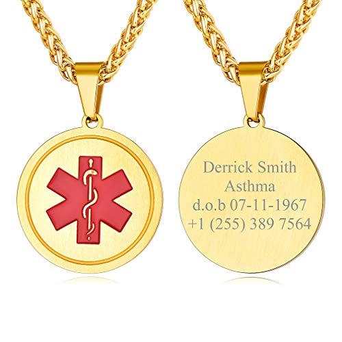 Custom4U Placa de Identidad Cruz Roja Personalizado Collar Acero Inoxidable 316L Joyería Medical ID SOS de Emergencia con Informaciones Grabados