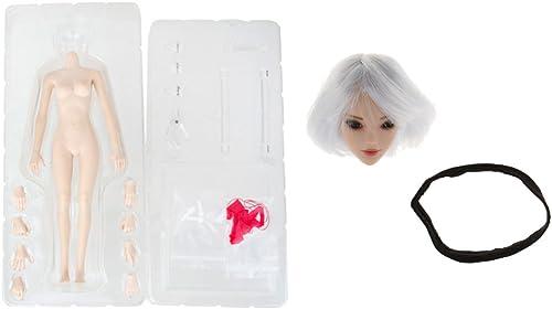 B Blesiya 1 6 Nahtloser   + Weiß Haare Headsculpt Zubeh Kit für 12inch Weißiche Action Figur
