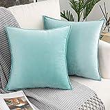 Skymico 45x45 Funda de Almohada de Terciopelo, 2 Fundas de Almohada de Microfibra, Funda de Almohada con Cremallera Invisible, Adecuada para sofá, Sala de Estar, Dormitorio Cielo Azul