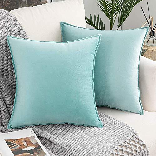 Skymico 40x40 Funda de Almohada de Terciopelo, 2 Fundas de Almohada de Microfibra, Funda de Almohada con Cremallera Invisible, Adecuada para sofá, Sala de Estar, Dormitorio Cielo Azul