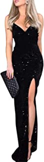 Women's Sexy V Neck Bodycon Sequin Gown Evening Dress...