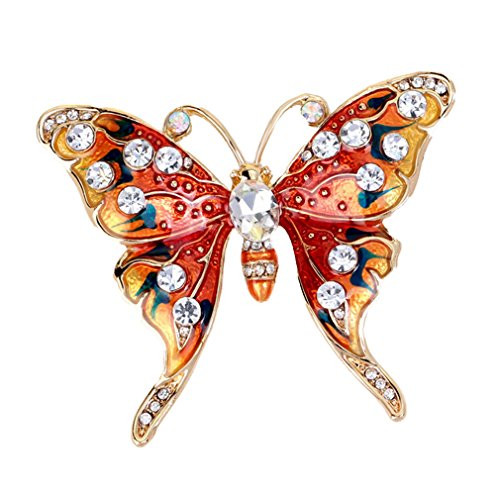 Yazilind Art und Weise Schmetterling eingelegte Rhinestones Legierungsfarbe Brosche Stifte Frauen Mädchen Zusätze