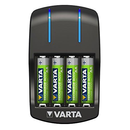 VARTA Plug Ladegerät - LED-Ladeanzeige - Sicherheitsabschaltung - exklusives VARTA Design - Lädt 2 oder 4 AA, AAA gleichzeitig - inkl. 4xAA 2100 mAh Akkus