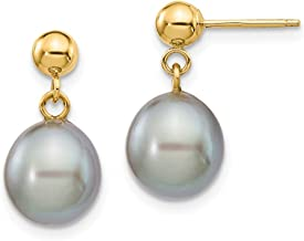 ICE CARATS 14k Yellow Gold 9mm Grey Rice Freshwater Cultured Pearl Drop Dangle Chandelier Post Stud Earrings Fine Jewelry Gifts For Women