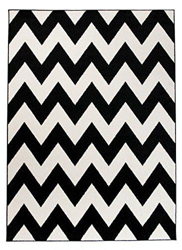 We Love Rugs - Carpeto Moderner Designer Teppich Zick-Zack Geometrisches Muster - Flor Modern Designer Muster - Wohnzimmer Schlafzimmer Esszimmer - Weiß Schwarz - 80 x 150 cm