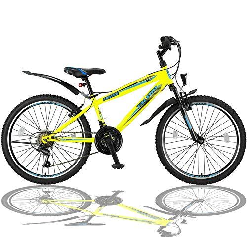 Talson 26 Zoll Mountainbike Fahrrad mit Gabelfederung und Beleuchtung mit 21-Gang Shimano in Gelb