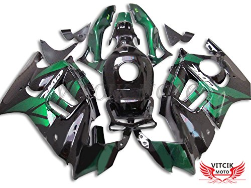 VITCIK (Fairing Kits Fit for Honda CBR600F3 CBR600F 1997 1998 CBR 600 F3 97 98 Plastic ABS Injection Mold Complete Motorcycle Body Aftermarket Bodywork Frame (Black & Green) A030