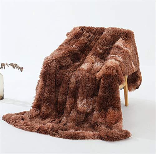 SWECOMZE Manta de forro polar de pelo largo de microfibra, suave y cálida, para el sofá (marrón, 160 x 200 cm)