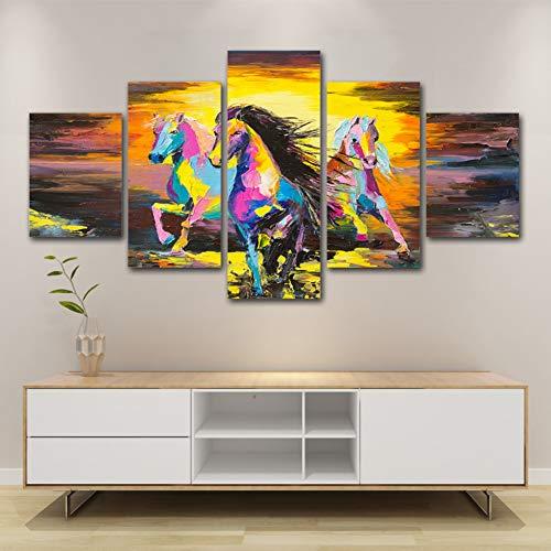 XITANG 5 Stuks Canvas Schilderen Modulaire Afbeeldingen Hd Prints Huisdier Paard Decor Landschap Muurkunst Achtergrond Kunstwerk Poster