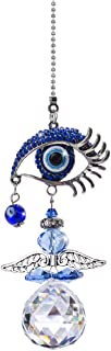 YU FENG Hanging Crystal Angel Suncatcher Blue Evil Eye Protection and Good Luck Charm Chandelier Lamps Pendant(12.5in)
