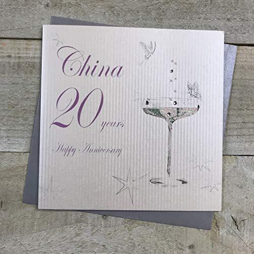 Wit Katoen Kaarten Gelukkig China' 20 Jaar, Handgemaakte Jubileum Kaart (Coupe Glas, Code bd120)