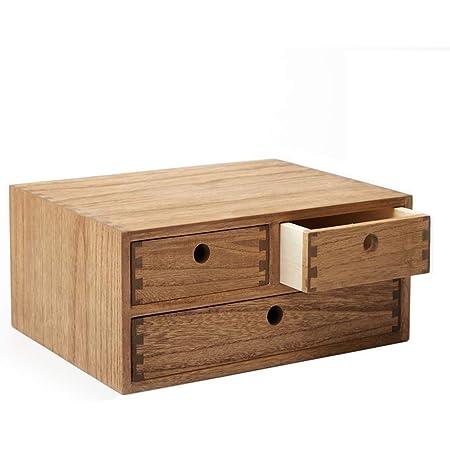 Kirigen Organisateur de bureau en bois Fournitures de bureau Classement Étagère de rangement Armoire de rangement Bijoux Organisateur à 3 tiroirs Marron foncé