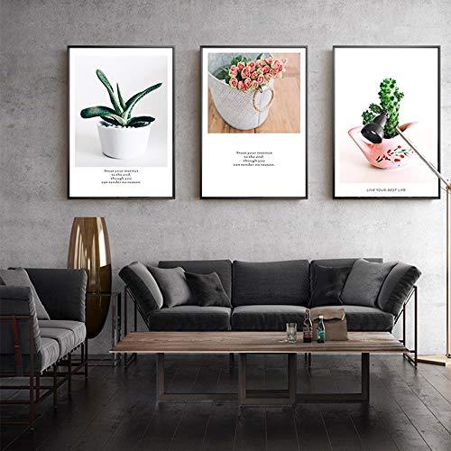 ZHQHYQHHX Vertikale Version von Topfpflanzen Mural Kombination 3pcs Set Black Frame Home Hotel Wanddekoration Gemälde Modernen minimalistischen Restaurant Hängende Malerei (Size : 40cm*60cm)