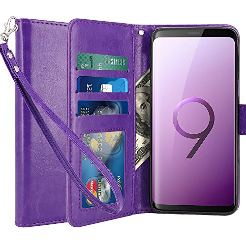 LK Case for Galaxy S9 Plus, [Wrist Strap] Luxury PU Leather Wallet Flip Protective Case Cover with Card Slots and Stand for Samsung Galaxy S9 Plus (Purple)