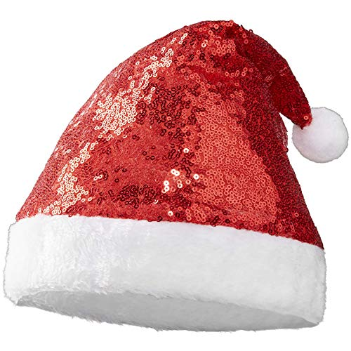 dressforfun 303435 Glitzer Pailletten Weihnachtsmütze, rot weiß, breiter Rand aus weißem Plüsch