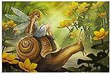 APAZSH Cuadros Decoracion Póster Vintage Girl on The Snail's Back Lienzo artístico póster y póster de Decoracion de impresión de Cuadros artística de Pared 60x90cm x1 Sin Marco