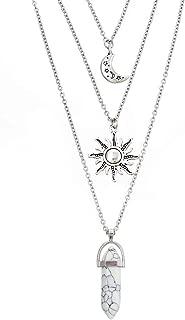 MJartoria Sun Moon Gothic Necklace Chakra Charm Pendant 3 Multi Layer Alloy Chain Choker Necklace Set Gothic Jewelry