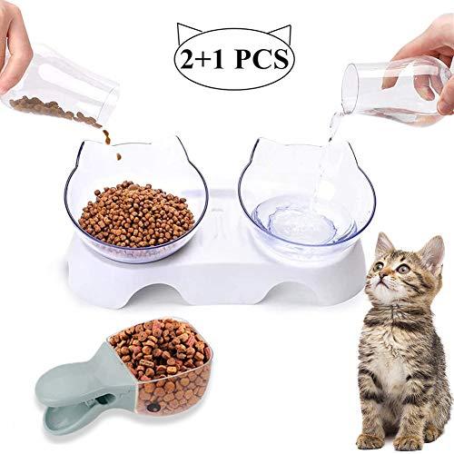Sunshine smile katzennapf Set,Futternäpfe Katzenfutter,Futternapf Katze,rutschfeste Basis Doppelschüssel,Futterschüssel Katze,katzenschüssel Set für Katze Welpe Futter und Wass (Transparent-A)