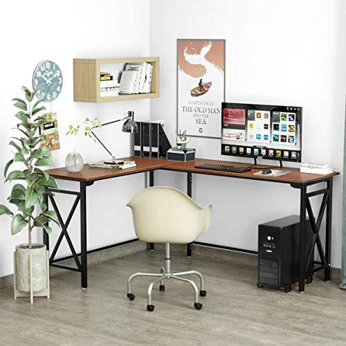 Escritorio en forma de L Herasa para computadora de escritorio, escritorio para juegos de casa, 160 x 150 cm, estación de trabajo de escritura de oficina, ahorro de espacio, fácil de montar (nogal)