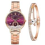 Damenuhr Roségold Uhr Minimalistisch Damen Armbanduhr Paar Uhren Elegant Wasserdicht Armbanduhr Lässige Uhren für Frauen Mädchen Ultradünne Set mit Armreif(Lila)