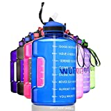 ETDW Half Gallon Motivational Water Bottle Jug with Time Marker, BPA Free 2.2Litre Big Water Bottle with Straw Cleaning Brush Leakproof Daily Water Intake Bottle with Handle Pop Up Open Blue