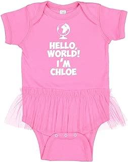 Hello, World! I'm Chloe - Personalized Name Tutu Baby Bodysuit