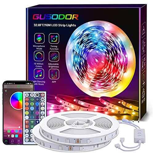 GUSODOR Tira de LED 10M, Luces LED Habitacióndecon 5050 RGB, Tiras Led Control de APP y...