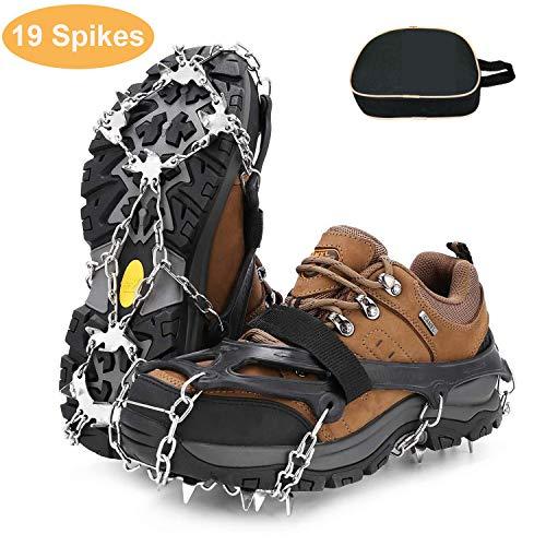 RSWLED Steigeisen für Bergschuhe, Schuhkrallen mit 19 Edelstahl Zähne Anti-Rutsch Spikes, Schneekette, Eisspikes für Winter High Altitude Wandern Bergsteigen auf EIS Schnee (L)