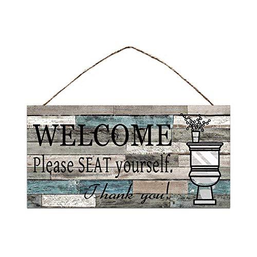 HNFT Placa de madera impresa para colgar en la pared, cartel de bienvenida por favor Seat Yourself