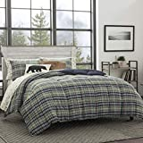 Eddie Bauer | Rugged Collection | Plush Super Soft Micro-Suede Premium Quality Down Alternative Comforter With Matching Shams, 3-Piece Bedding Set, Reversible Plaid, Full/Queen, Navy Blue