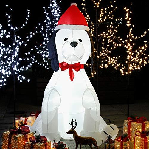 CCLIFE Led Schneemann Beleuchtet Aufblasbar snowman outdoor Außenbereich Schneemänner Weihnachtsbeleuchtung weihnachtsdeko Weihnachtsfigur, Farbe:Hund - 180cm