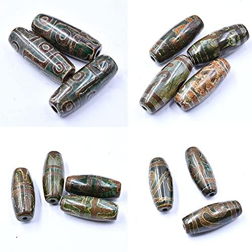 XIAORUI 30mm Vintage Piedra Verde Natural Tibetano Dzi ágatas Cuentas de Piedra ovaladas geométricas de Nueve Ojos Cuentas de ágatas Antiguas para