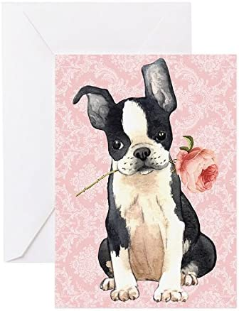 CafePress Boston Terrier Rose Greeting Card Note Card Birthday Card Blank Inside Glossy product image