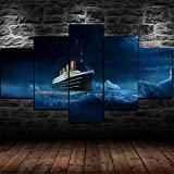 yuanjun 5 Juegos De Pinturas Impresión HD Pintura De Arte De Pared Pintura Moderna Pintura De Decoración del Hogarimpresión De Lienzo XXL Barco Ice Burg